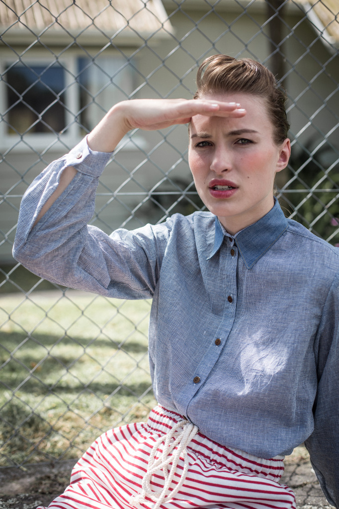 Pardon My French interview Meet the Makers chambray shirt stripe skirt New Zealand fashion